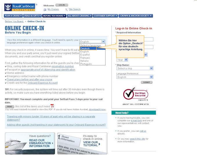 web check-in オアシス・オブ・ザ・シーズ